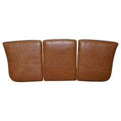 Set of Three Chesterfield Gentlemans Club Sofa Tan Brown Leather Seat Cushions