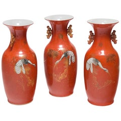 Set of Three Chinese Art Deco Persimmon Vases with White Cranes