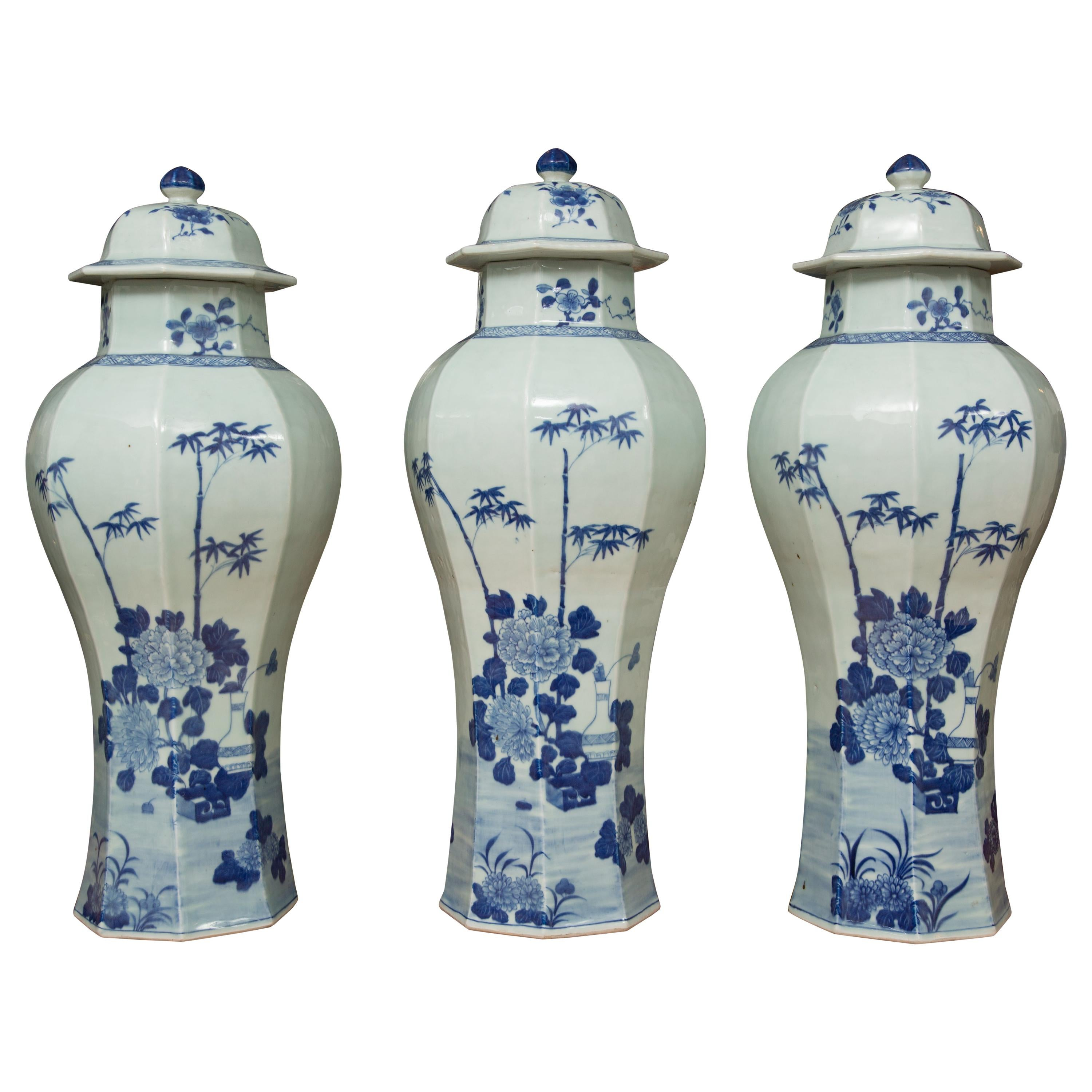 Chinese Blue and White Lidded Vases