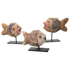 Set of Three Chinese Folk Koi Sculptures