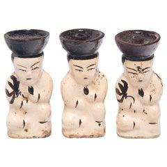 Set of Three Chinese Ho Ho Boy Oil Lamps, circa 1900