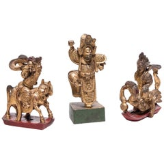 Set of Three Chinese Mythical Gilt Figures, circa 1850