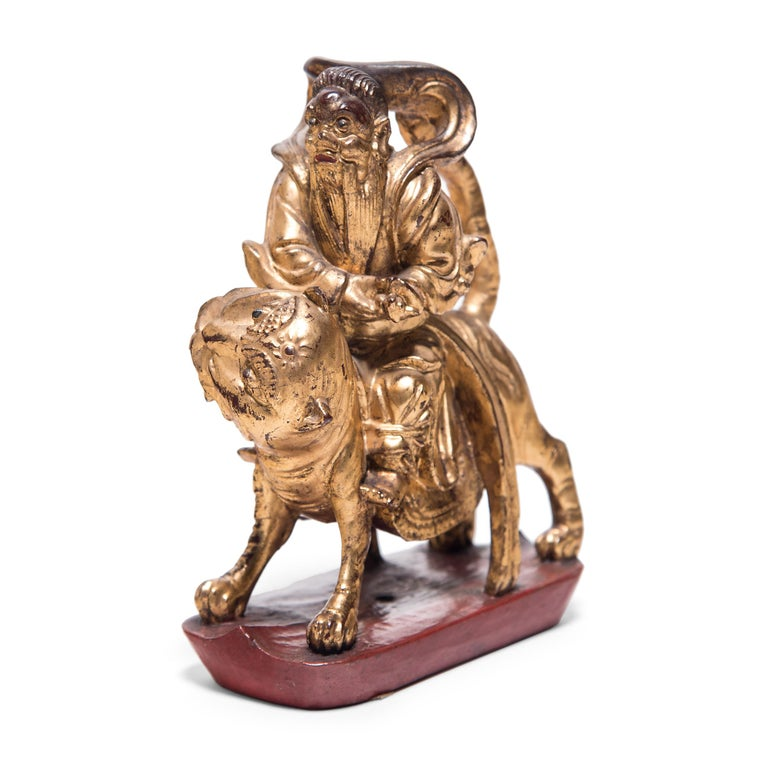 Qing Set of Three Chinese Mythical Gilt Figures, circa 1850 For Sale