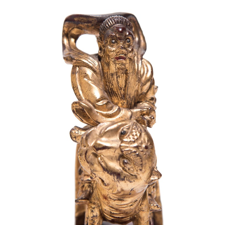 Carved Set of Three Chinese Mythical Gilt Figures, circa 1850 For Sale