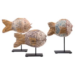 Set of Three Chinese Painted Lucky Fish