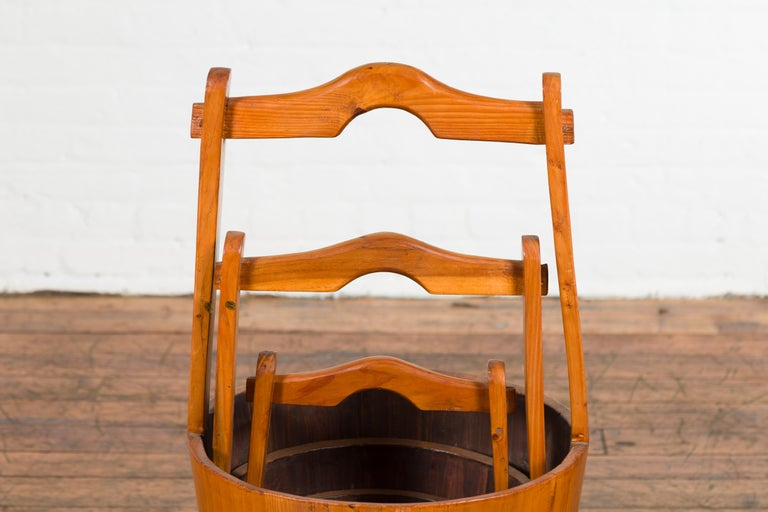 20th Century Set of Three Chinese Vintage Grain Nested Baskets with Large Handles For Sale