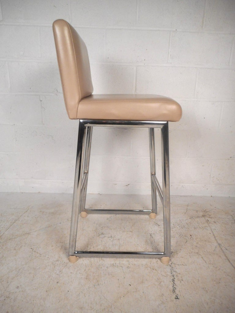 American Set of Three Chrome and Vinyl Bar Stools For Sale