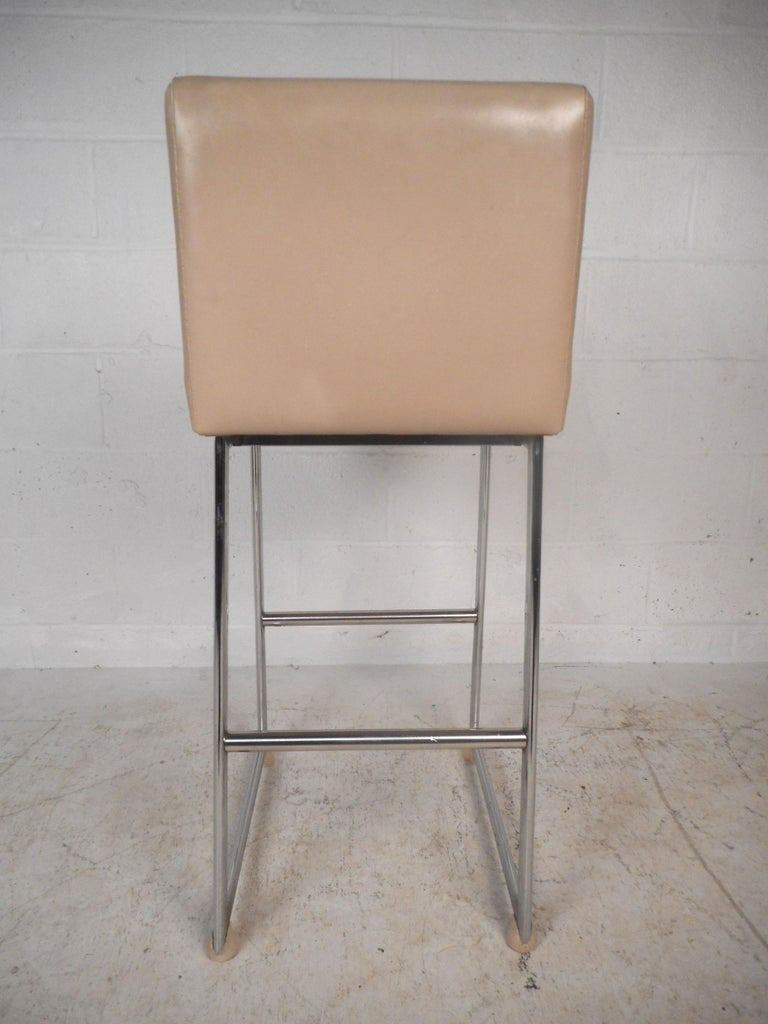 Mid-20th Century Set of Three Chrome and Vinyl Bar Stools For Sale
