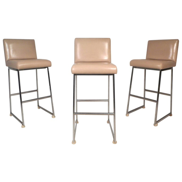 Set of Three Chrome and Vinyl Bar Stools For Sale