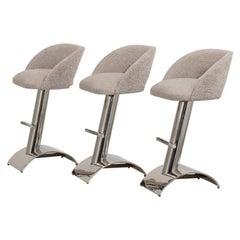 Set of Three Chrome Framed Upholstered Bar Stools