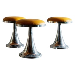 Set of Three Chrome Stools with Ochre Leather Seats, 1970s