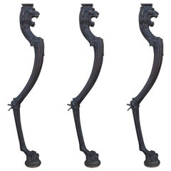Set of Three circa 1900 Bronze Legs with Lion Heads and Paw Feet