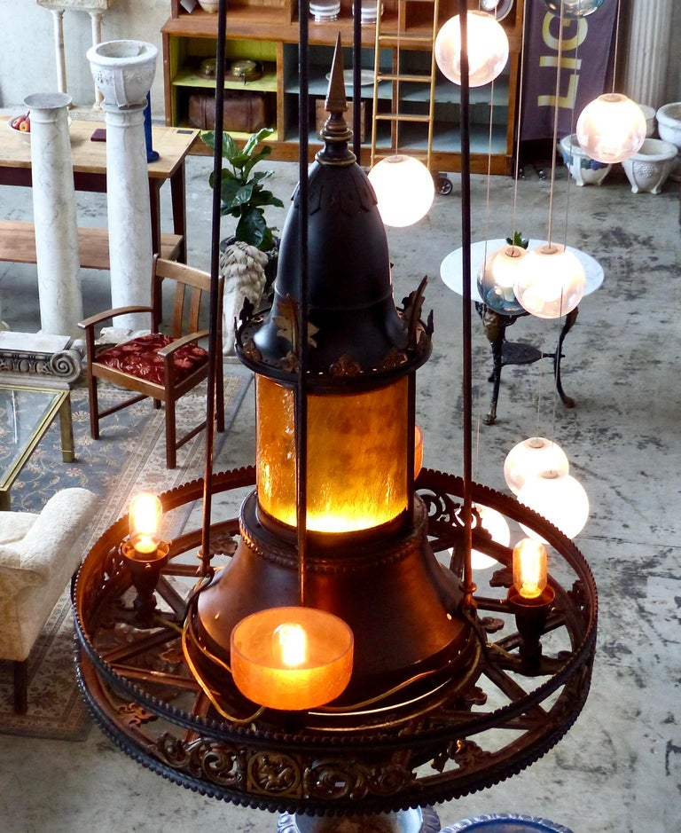 Gothic Set of Three circa 1910 Large Cathedral Chandeliers For Sale