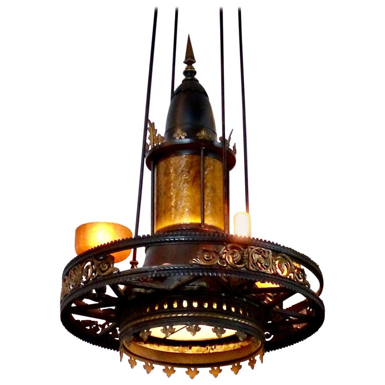 Set of Three circa 1910 Large Cathedral Chandeliers For Sale