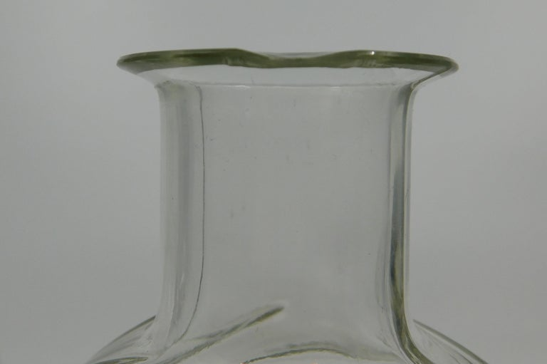 Set of Three circa 1930 Art Deco French Clear Glass Liquor Decanter Bottles For Sale 4