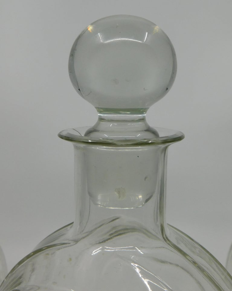 Set of Three circa 1930 Art Deco French Clear Glass Liquor Decanter Bottles For Sale 5