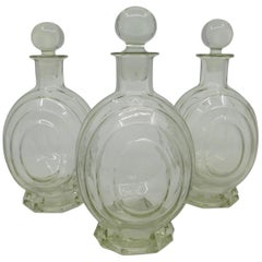 Set of Three circa 1930 Art Deco French Clear Glass Liquor Decanter Bottles