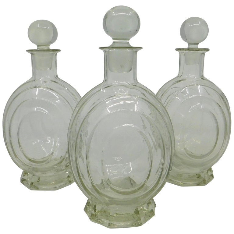 Set of Three circa 1930 Art Deco French Clear Glass Liquor Decanter Bottles For Sale