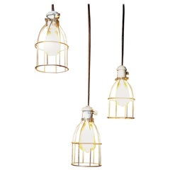 Set of Three circa 1930 Caged Industrial Lights
