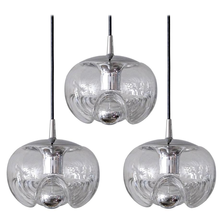 Set of Three Clear Glass Hanging Lights, 1970
