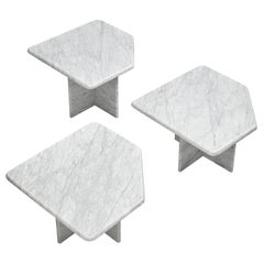 Set of Three Coffee Tables in Marble