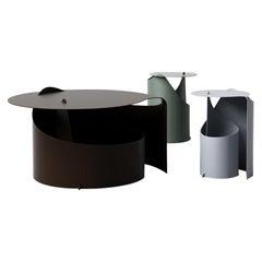 Set of Three Coffee Tables, Rolle Steel designed by Aldo Bakker