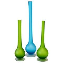Set of Three Colorful Carlo Moretti Italian Satinato Murano Glass Pencil Vases