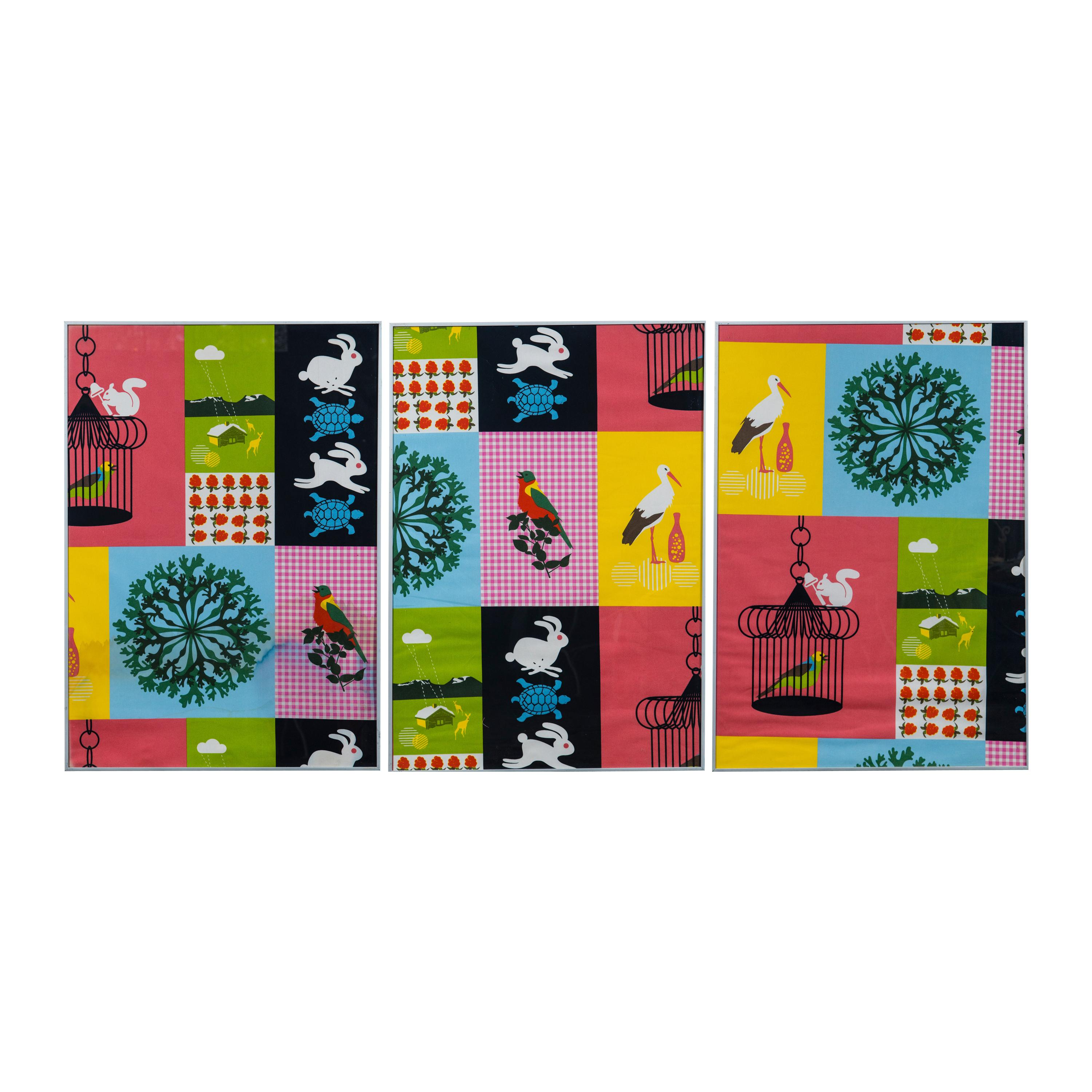 Set of Three Colorful Fabric Framed Art