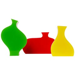 Set of Three Colorful Stylized Plexiglass Vases by Villeroy & Boch