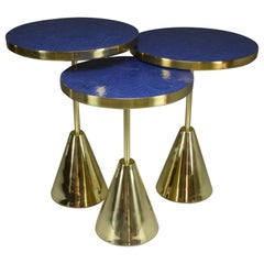 Set of Three Contemporary Brass Mosaic Side Tables, Flow Collection