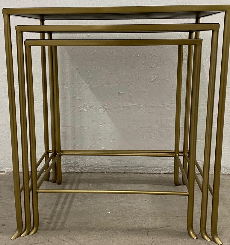 Modern Set of Three Contemporary Brass Plate Steel and Flecked Mirror Nesting Tables For Sale