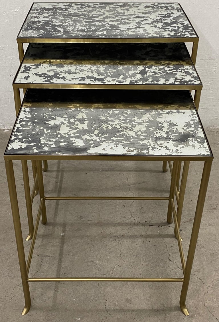 American Set of Three Contemporary Brass Plate Steel and Flecked Mirror Nesting Tables For Sale