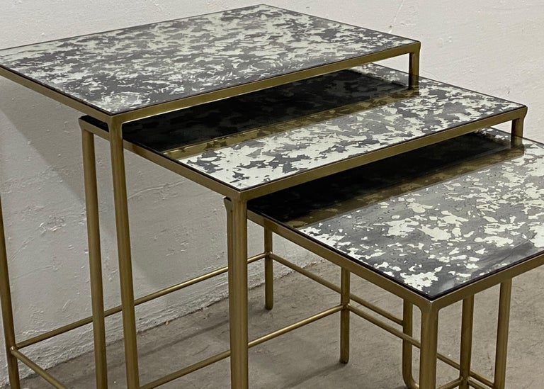 Hand-Crafted Set of Three Contemporary Brass Plate Steel and Flecked Mirror Nesting Tables For Sale