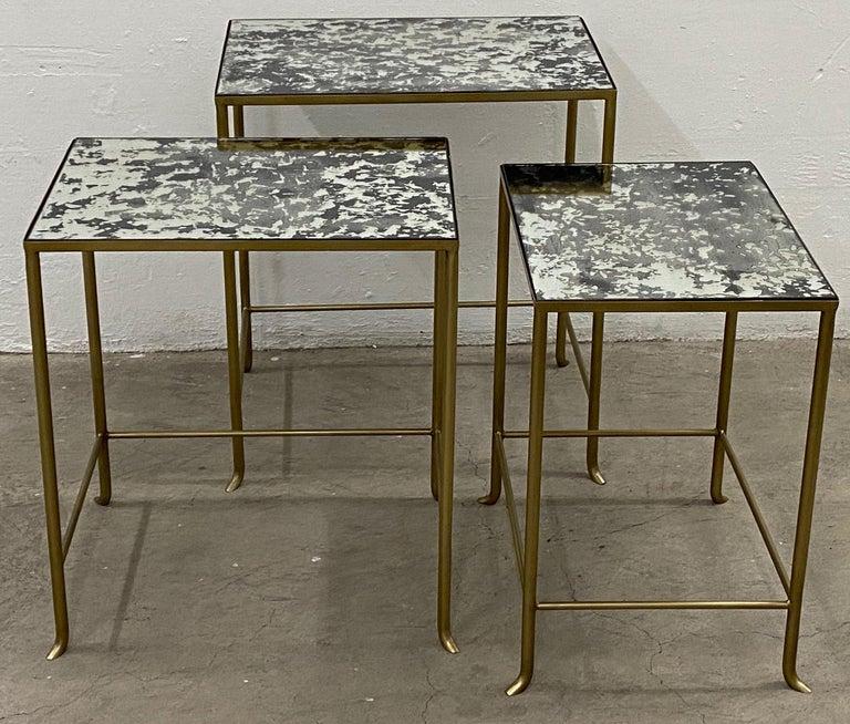Set of Three Contemporary Brass Plate Steel and Flecked Mirror Nesting Tables In Good Condition For Sale In San Francisco, CA
