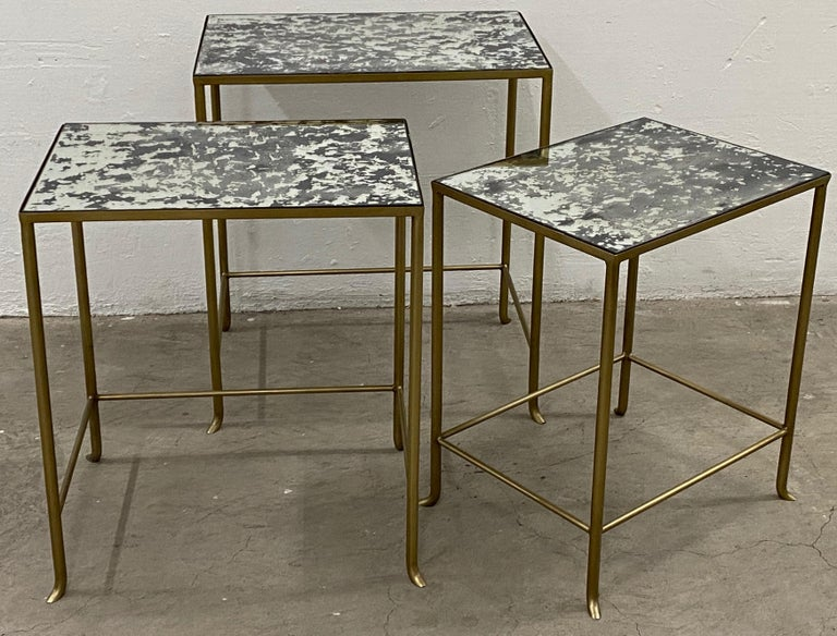 20th Century Set of Three Contemporary Brass Plate Steel and Flecked Mirror Nesting Tables For Sale