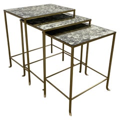 Set of Three Contemporary Brass Plate Steel and Flecked Mirror Nesting Tables