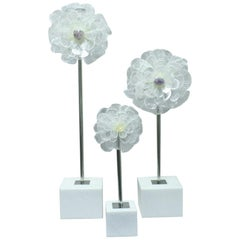 Set of Three Contemporary Carved Flowers