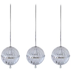 Set of Three Contemporary Modern Hanging Chrome Blown glass Globe Lights