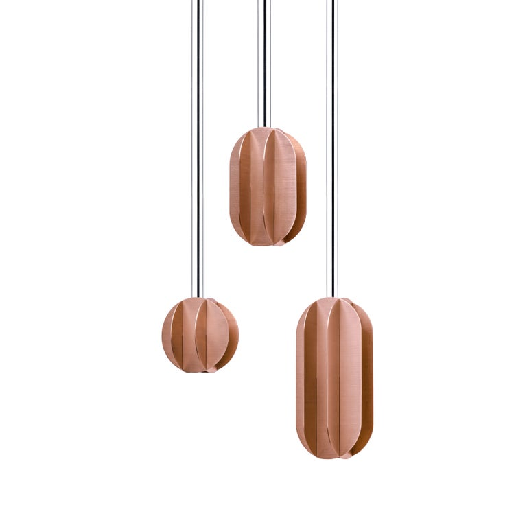 Set of Three Contemporary Pendant Lamp EL Lamps CS2 by NOOM in Copper For Sale 3