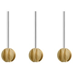 Set of Three Contemporary Pendant Lamps El Lamps Small CS1 by NOOM in Brass