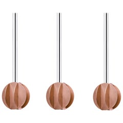 Set of Three Contemporary Pendant Lamps El Lamps Small CS2 by Noom in Copper