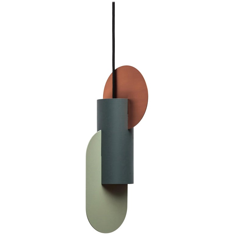 Modern Set of Three Contemporary Pendant Lamps Suprematic by NOOM in Copper and Steel For Sale