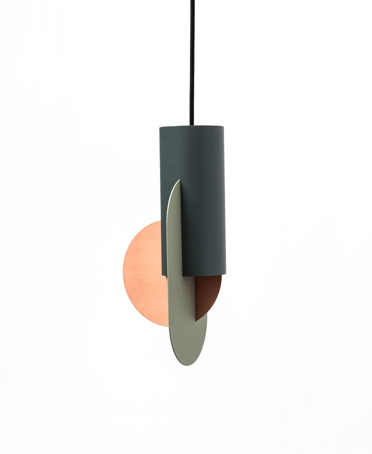 Brushed Set of Three Contemporary Pendant Lamps Suprematic by NOOM in Copper and Steel For Sale