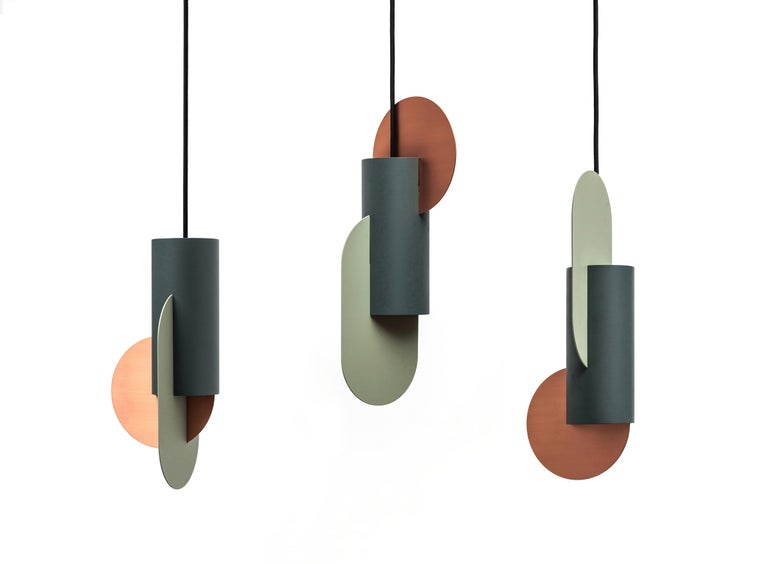 Set of Three Contemporary Pendant Lamps Suprematic by NOOM in Copper and Steel In New Condition For Sale In Kyiv, UA