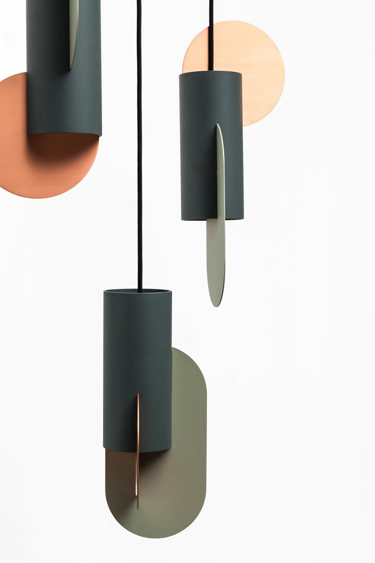Set of Three Contemporary Pendant Lamps Suprematic by NOOM in Copper and Steel For Sale 1