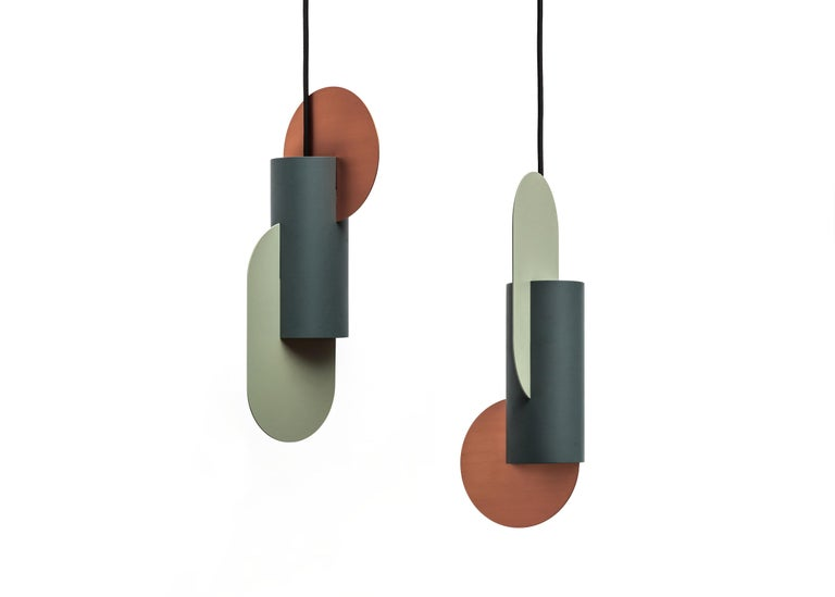 Set of Three Contemporary Pendant Lamps Suprematic by NOOM in Copper and Steel For Sale 2