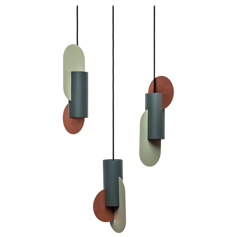 Set of Three Contemporary Pendant Lamps Suprematic by NOOM in Copper and Steel For Sale