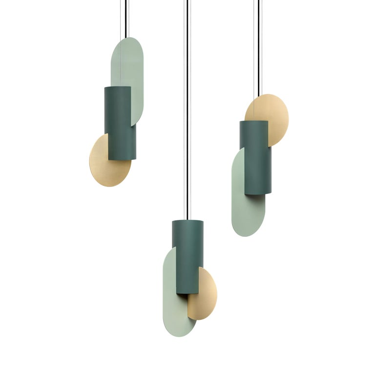 Modern Set of Three Contemporary Pendant Lamps Suprematic CS5 by NOOM in Brass & Steel For Sale