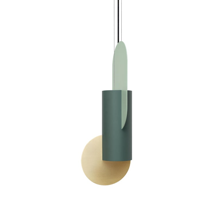 Brushed Set of Three Contemporary Pendant Lamps Suprematic CS5 by NOOM in Brass & Steel For Sale