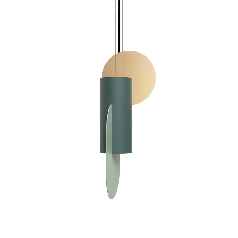 Set of Three Contemporary Pendant Lamps Suprematic CS5 by NOOM in Brass & Steel In New Condition For Sale In Kyiv, UA